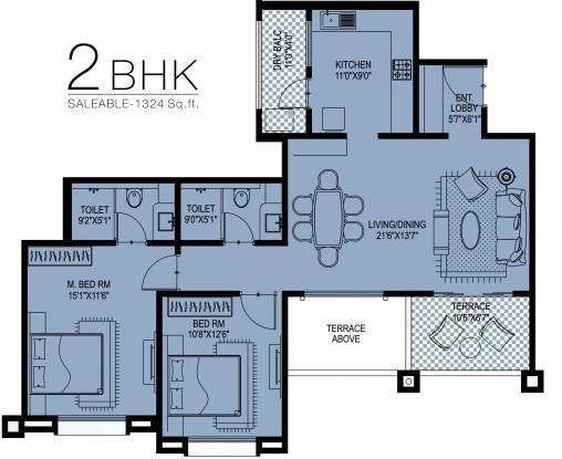 Kundan Kundan Eternia (2BHK+2T (1,324 sq ft) Apartment 1324 sq ft)