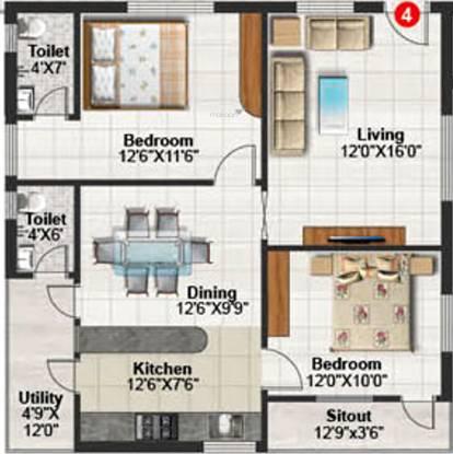 Hasini Platinum County (2BHK+2T (910 sq ft) Apartment 910 sq ft)