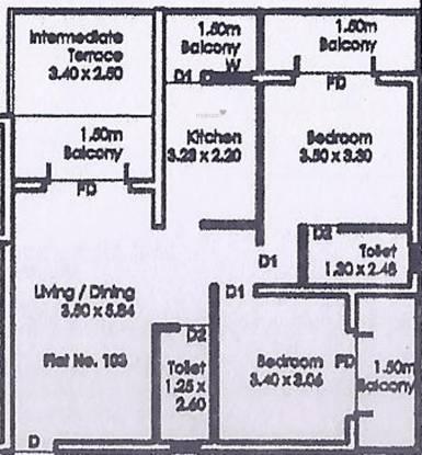 Palacio Asoka Vann (2BHK+2T (1,180 sq ft) Apartment 1180 sq ft)