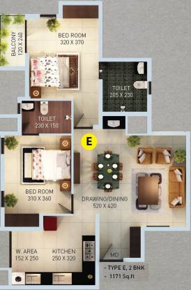 Desai DD Highway Heights (2BHK+2T (1,171 sq ft) Apartment 1171 sq ft)