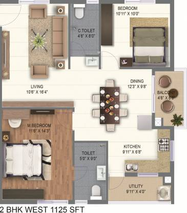 Ramky One Marvel (2BHK+2T (1,125 sq ft) Apartment 1125 sq ft)
