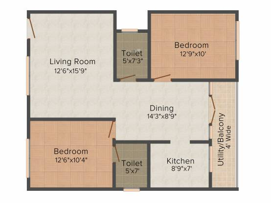 SVR Icon Heights (2BHK+2T (1,045 sq ft) Apartment 1045 sq ft)