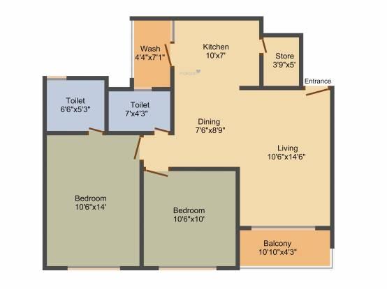 Shree Radha Jaldeep Icon (2BHK+2T (1,294 sq ft) Apartment 1294 sq ft)