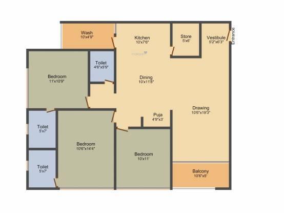 Shyam 84 (3BHK+3T (1,854 sq ft) Apartment 1854 sq ft)