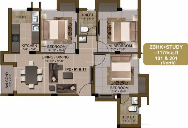 Sidharth Pearl (2BHK+2T (1,175 sq ft) + Study Room Apartment 1175 sq ft)