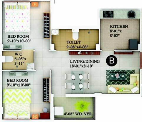 Rupayan Su Casa Unique (2BHK+1T (840 sq ft) Apartment 840 sq ft)