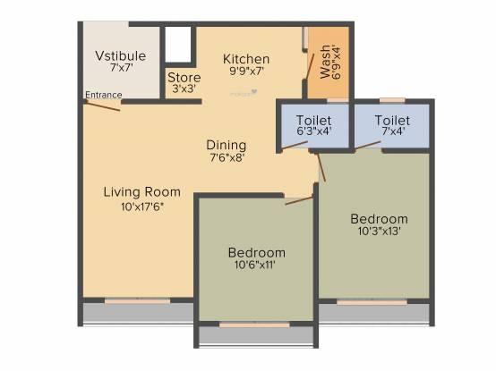 Kavisha Celebrations (2BHK+2T (1,200 sq ft) Apartment 1200 sq ft)