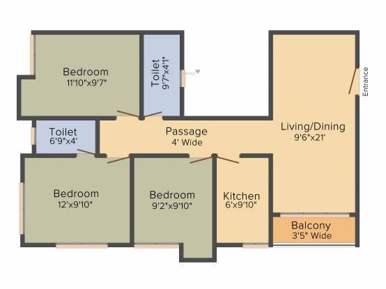 Aspirations Azalea (3BHK+2T (1,190 sq ft) Apartment 1190 sq ft)