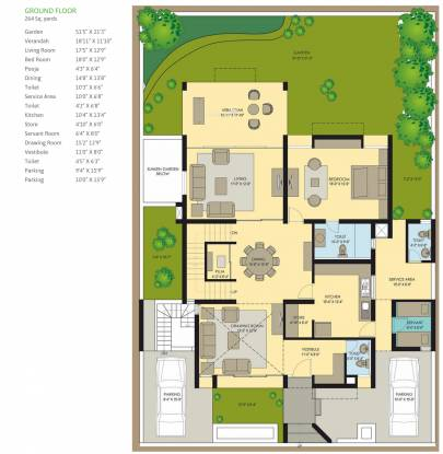 Applewoods Sidalcea (4BHK+5T (5,940 sq ft)   Servant Room Villa 5940 sq ft)
