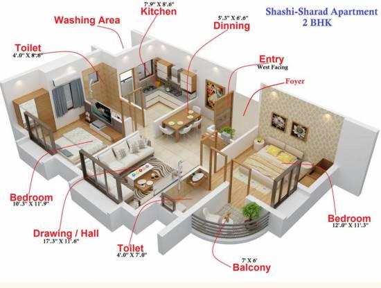 Maharshee Shashi Sharad Apartments (2BHK+2T (1,170 sq ft) Apartment 1170 sq ft)