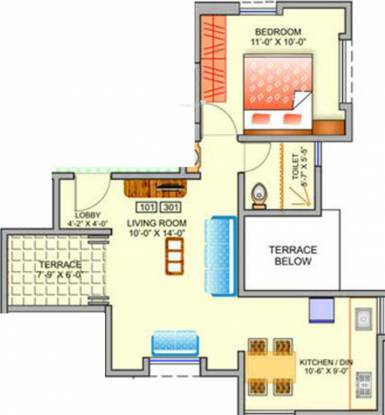 Behede Prisa (1BHK+1T (417 sq ft) Apartment 417 sq ft)