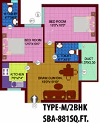 Metro Highway (2BHK+2T (881 sq ft) Apartment 881 sq ft)
