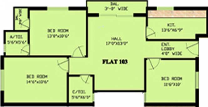 Trust Tower Hills Residency (3BHK+2T (1,208 sq ft) Apartment 1208 sq ft)