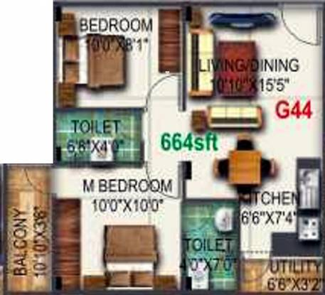 Pyramid Bilberry (2BHK+1T (664 sq ft) Apartment 664 sq ft)