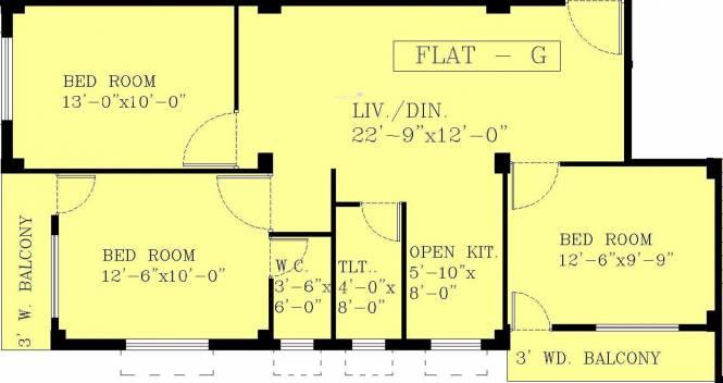 Rechi Anandi Villa (3BHK+2T (1,169 sq ft) Apartment 1169 sq ft)