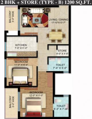 Omaxe Hazratganj Residency (2BHK+2T (1,200 sq ft) Apartment 1200 sq ft)