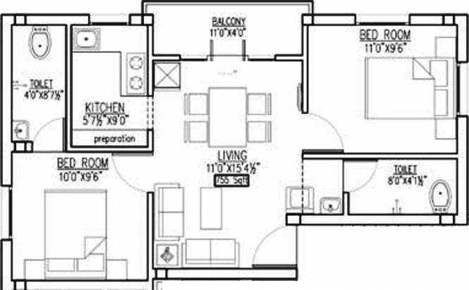 Arthi Dhanunjayam (2BHK+2T (755 sq ft) Apartment 755 sq ft)
