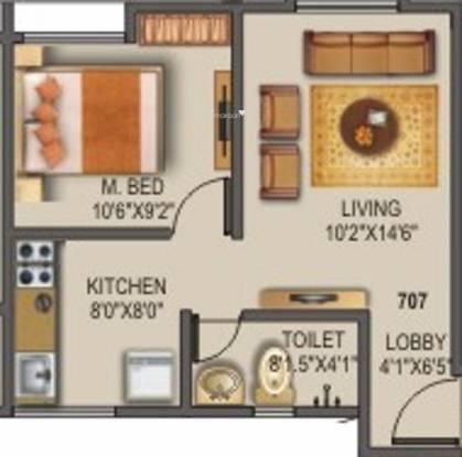 Sancheti Belcastel (1BHK+1T (524 sq ft) Apartment 524 sq ft)