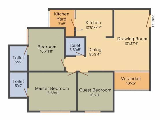 Binori Pristine (3BHK+3T (1,710 sq ft) Apartment 1710 sq ft)