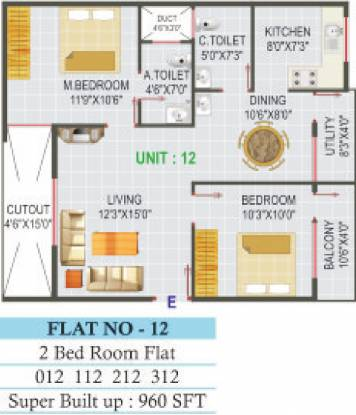 Dhathri Residency (2BHK+2T (960 sq ft) Apartment 960 sq ft)