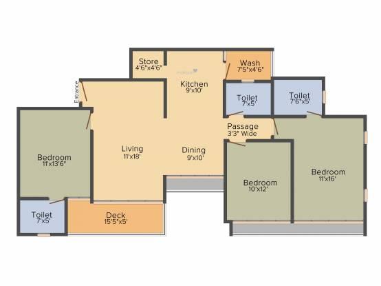 Sun Sky Park (3BHK+3T (1,850 sq ft) Apartment 1850 sq ft)