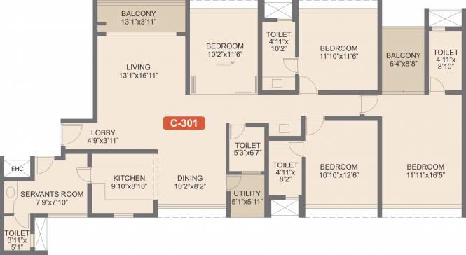 Rohan Iksha (4BHK+4T (2,171 sq ft)   Servant Room Apartment 2171 sq ft)