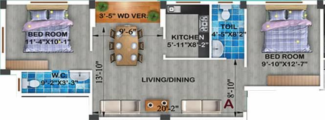 Rajwada Radiance (2BHK+2T (950 sq ft) Apartment 950 sq ft)