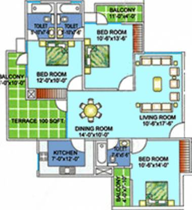 CGHS Appu Enclave (3BHK+3T (1,700 sq ft) Apartment 1700 sq ft)