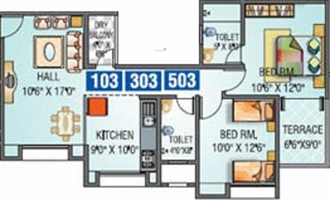 Pinnacle Kalputaru (2BHK+2T (955 sq ft) Apartment 955 sq ft)