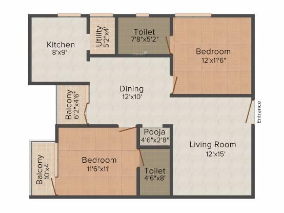 Sraddha Lakefront (2BHK+2T (1,105 sq ft) + Pooja Room Apartment 1105 sq ft)