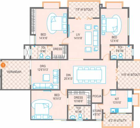 Meenakshi Trident Towers (3BHK+3T (3,165 sq ft)   Pooja Room Apartment 3165 sq ft)