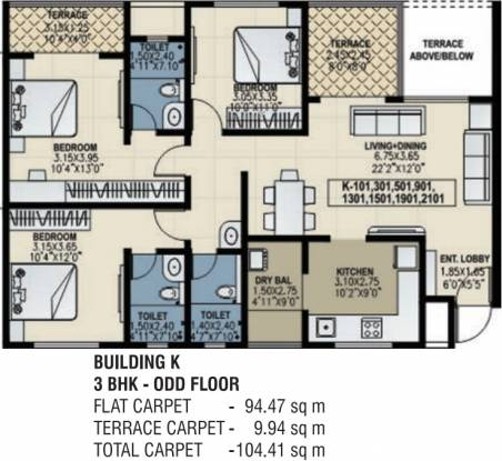 Amit Bloomfield Apartment (3BHK+3T (1,615 sq ft) Apartment 1615 sq ft)