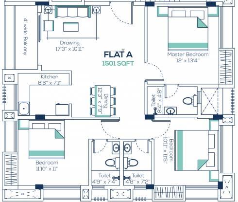 Isha Villa (3BHK+3T (1,501 sq ft) Apartment 1501 sq ft)