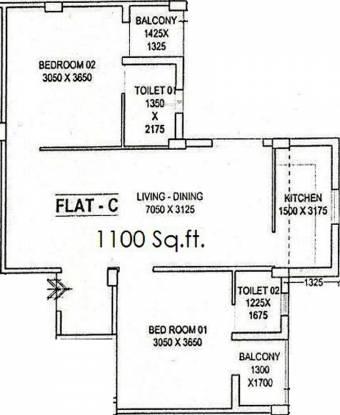 Envision Deb Kunj (2BHK+2T (1,100 sq ft) Apartment 1100 sq ft)
