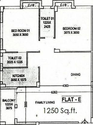 Envision Deb Kunj (2BHK+2T (1,250 sq ft) Apartment 1250 sq ft)