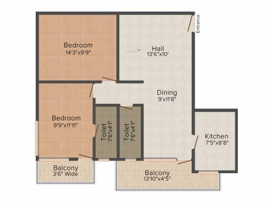 Rishabh City Prime (2BHK+2T (974 sq ft) Apartment 974 sq ft)
