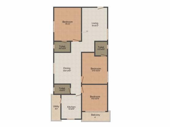 Happy Vasanthaa Happy Homes Nest (3BHK+3T (1,500 sq ft) Apartment 1500 sq ft)