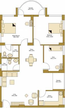 Bengal Peerless Avidipta (2BHK+2T (1,347 sq ft)   Study Room Apartment 1347 sq ft)