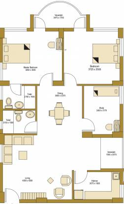 Bengal Peerless Avidipta (2BHK+2T (1,347 sq ft)   Study Room Apartment 1347 sq ft)
