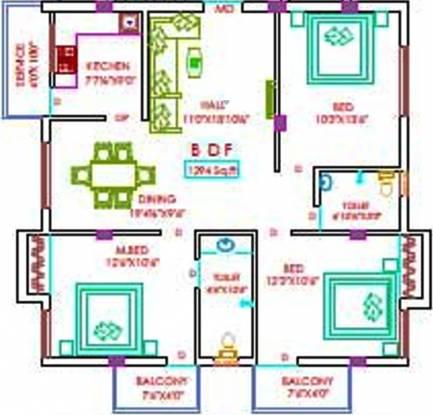 Nu Annai Illam (3BHK+2T (1,294 sq ft) Apartment 1294 sq ft)