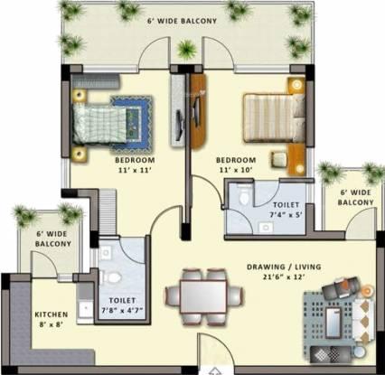 Shiv Park 1 Apartments (2BHK+2T (1,260 sq ft) Apartment 1260 sq ft)