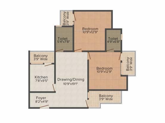 Windsor Windsor Court (2BHK+2T (1,200 sq ft) Apartment 1200 sq ft)
