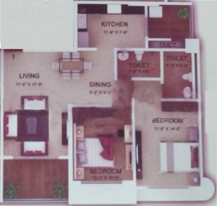 Garden Grove Phase 2 (2BHK+2T (1,300 sq ft) Apartment 1300 sq ft)