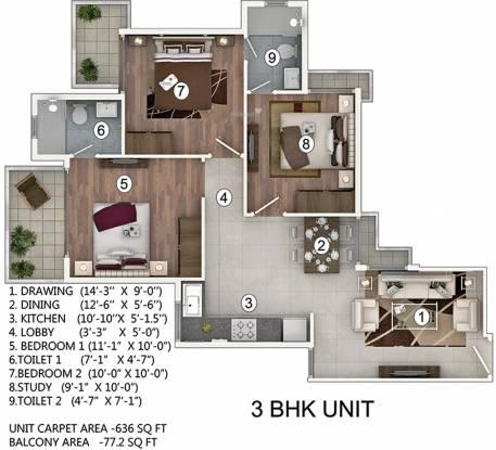 Pivotal Paradise (3BHK+2T (716 sq ft) Apartment 716 sq ft)