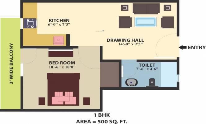 Himalaya Homes (1BHK+1T (500 sq ft) Apartment 500 sq ft)