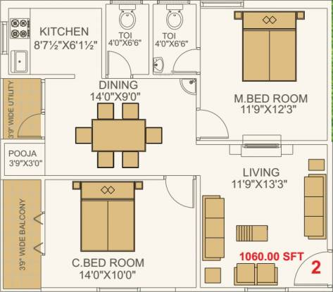NSK Exotica (2BHK+2T (1,060 sq ft) + Pooja Room Apartment 1060 sq ft)