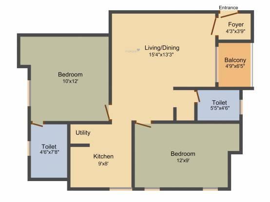 Saradeuz Acropolis (2BHK+2T (815 sq ft) + Pooja Room Apartment 815 sq ft)