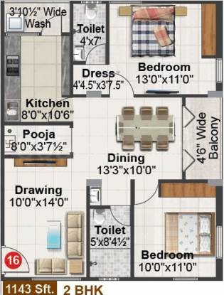 Gamut Ishta City (2BHK+2T (1,143 sq ft) + Pooja Room Apartment 1143 sq ft)