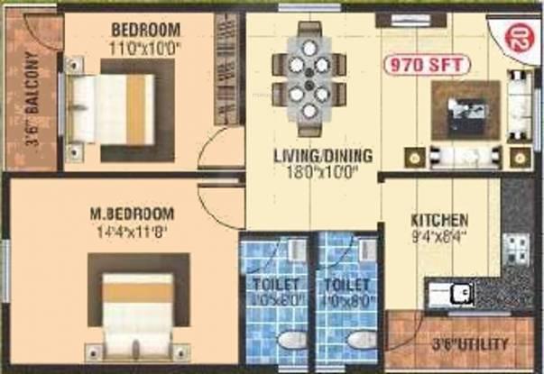 Shiva Residency (2BHK+2T (970 sq ft) Apartment 970 sq ft)