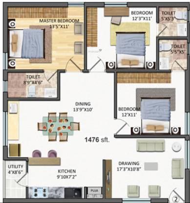 Reliance Krishna Grandeur (3BHK+3T (1,476 sq ft)   Pooja Room Apartment 1476 sq ft)